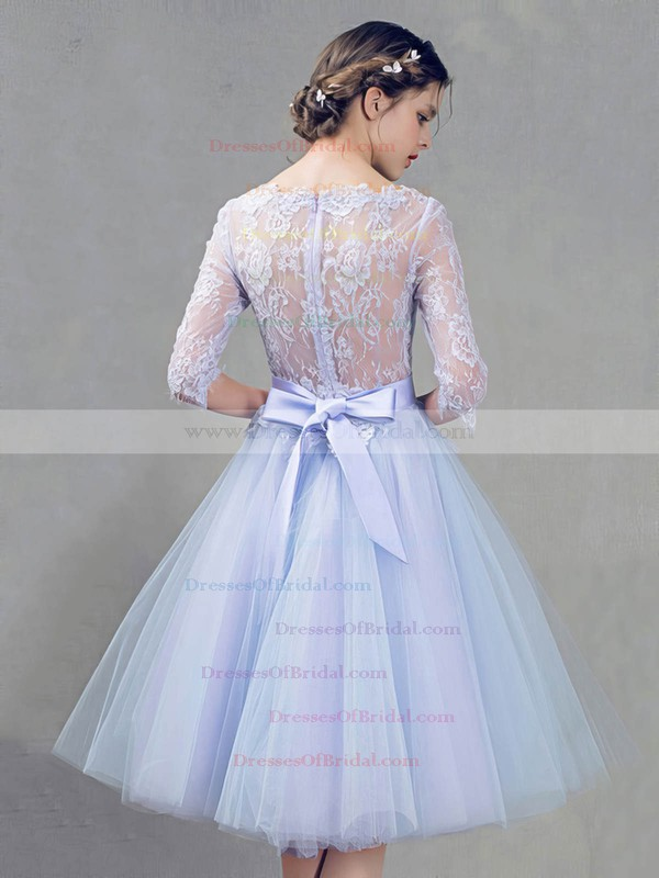 Lace Tulle Princess Scoop Neck Knee-length with Sashes / Ribbons Bridesmaid Dresses #DOB01013409