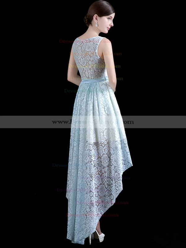 Lace A-line Scoop Neck Asymmetrical with Sashes / Ribbons Bridesmaid Dresses #DOB01013411
