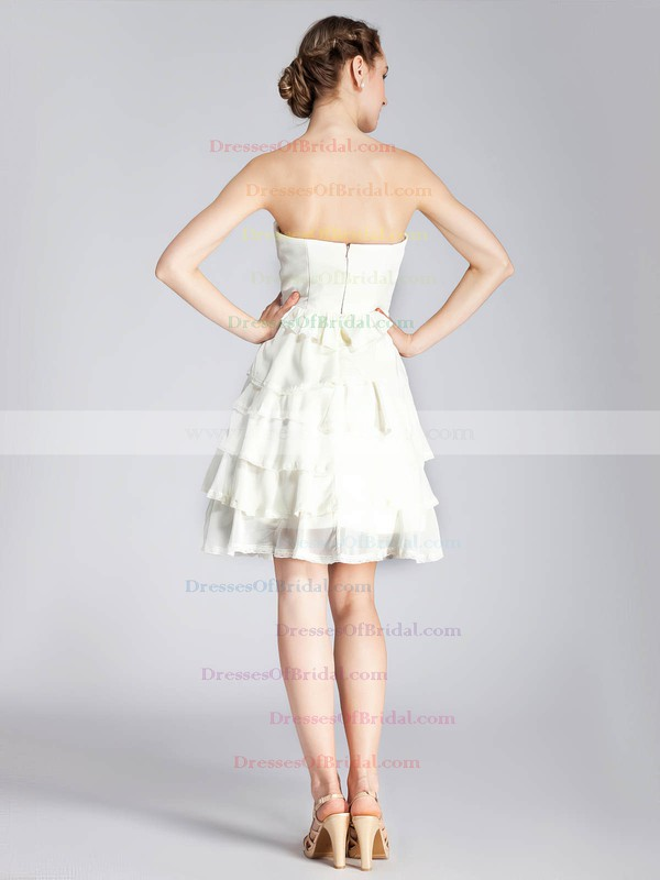 Strapless A-line Short/Mini Chiffon Tiered Bridesmaid Dresses #DOB02013671