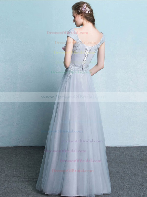 Tulle A-line V-neck Floor-length with Appliques Lace Bridesmaid Dresses #DOB01013425