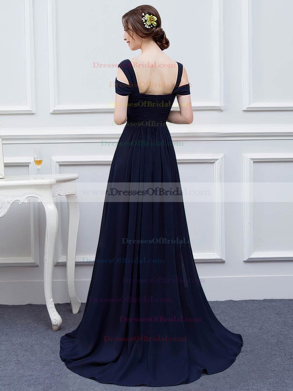 Chiffon A-line V-neck Sweep Train with Split Front Bridesmaid Dresses #DOB01013426
