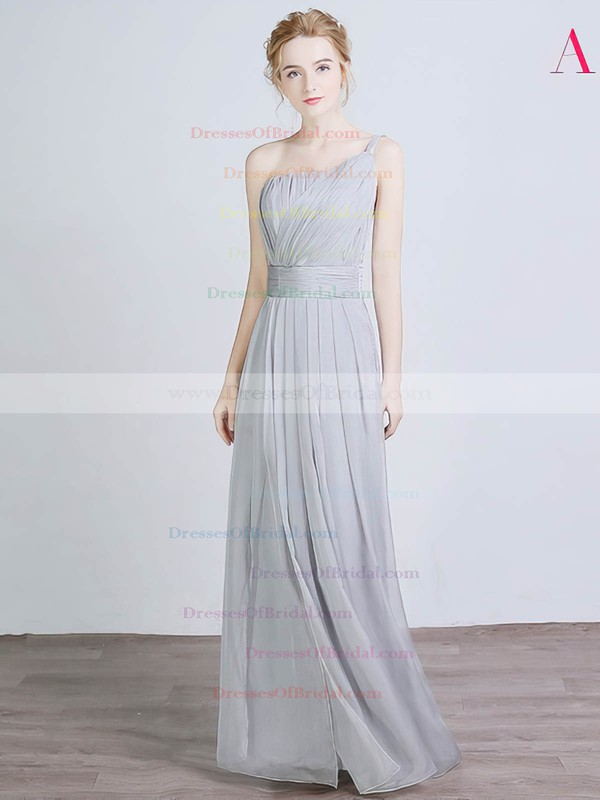 Chiffon Silk-like Satin A-line One Shoulder Floor-length with Split Front Bridesmaid Dresses #DOB01013429