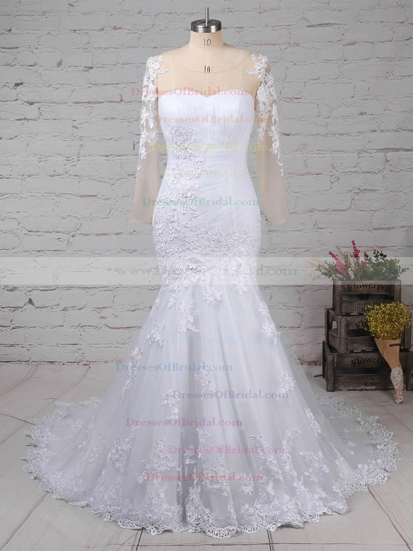 Tulle Trumpet/Mermaid Sweetheart Sweep Train with Appliques Lace Wedding Dresses #DOB00023009