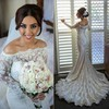Tulle Silk-like Satin Trumpet/Mermaid Off-the-shoulder Sweep Train with Beading Wedding Dresses #DOB00023010