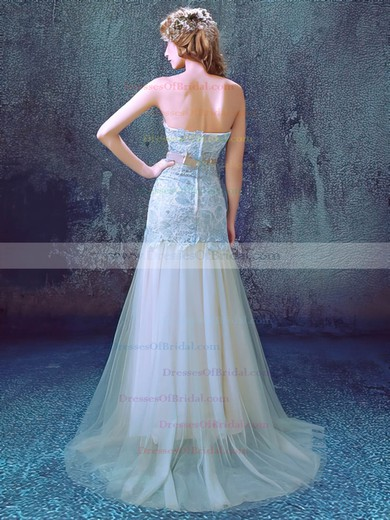 Tulle Trumpet/Mermaid Sweetheart Sweep Train with Appliques Lace Wedding Dresses #DOB00023012