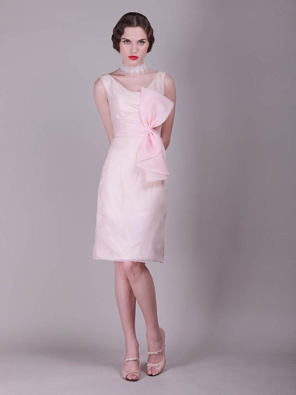 Scoop A-line Knee-length Chiffon Bow Bridesmaid Dresses #DOB02013680