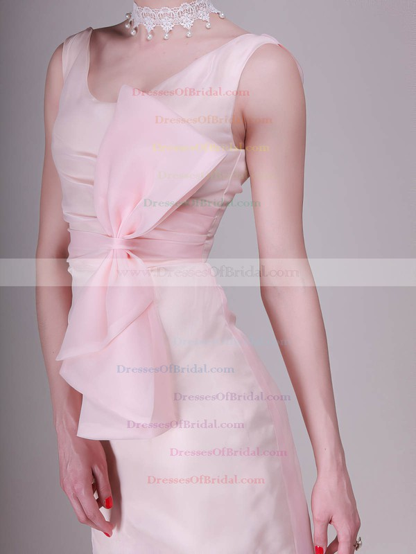 Scoop A-line Knee-length Chiffon Bow Bridesmaid Dresses #DOB02013680