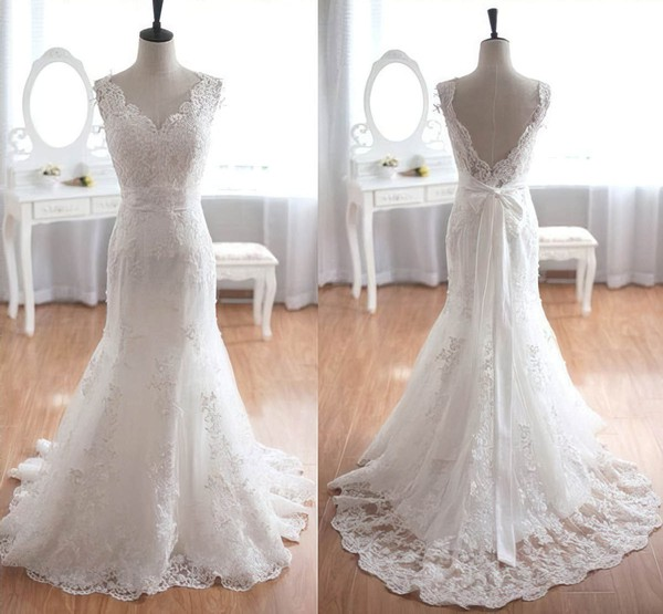 Tulle Trumpet/Mermaid V-neck Sweep Train with Sashes / Ribbons Wedding Dresses #DOB00023013