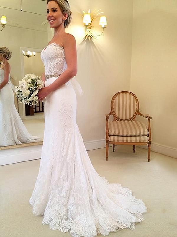 Lace Trumpet/Mermaid Sweetheart Sweep Train with Sashes / Ribbons Wedding Dresses #DOB00023014