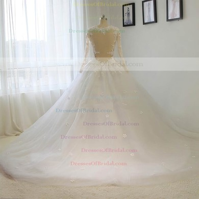 Tulle Ball Gown Scoop Neck Court Train with Sequins Wedding Dresses #DOB00023015