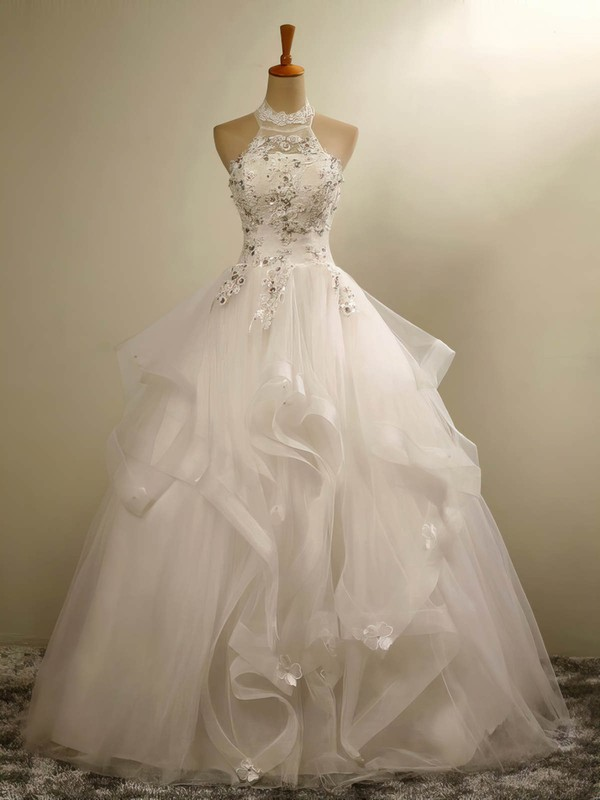 Tulle Ball Gown Halter Floor-length with Beading Wedding Dresses #DOB00023020