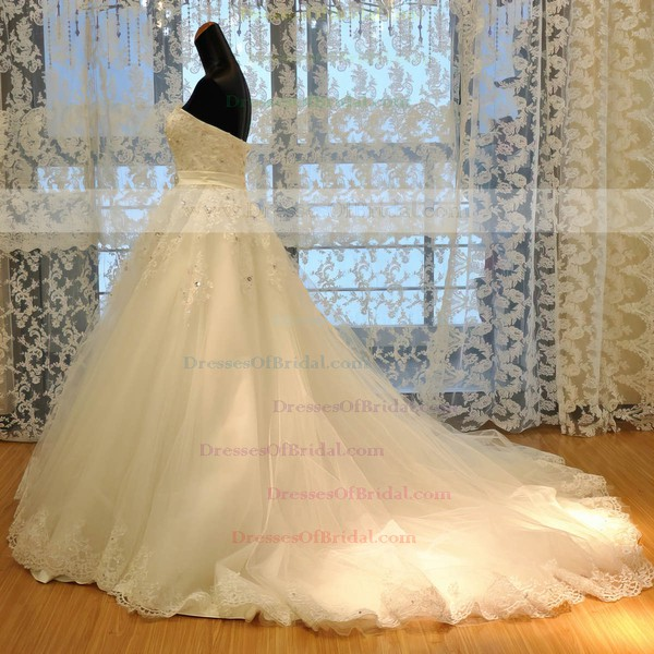 Tulle Ball Gown Sweetheart Court Train with Beading Wedding Dresses #DOB00023022