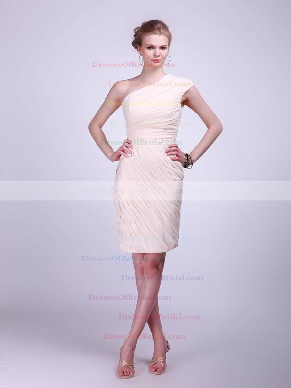 One Shoulder Sheath/Column Knee-length Chiffon Pleats Bridesmaid Dresses #DOB02013681