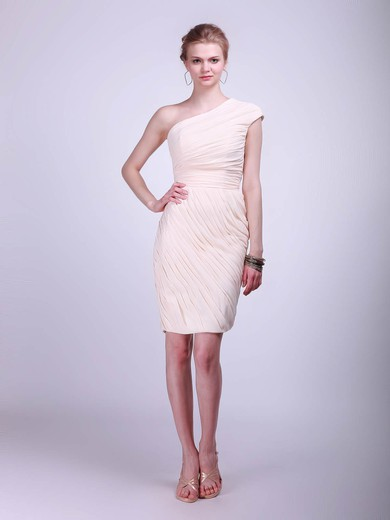 One Shoulder Sheath/Column Knee-length Chiffon Pleats Bridesmaid Dresses #DOB02013681