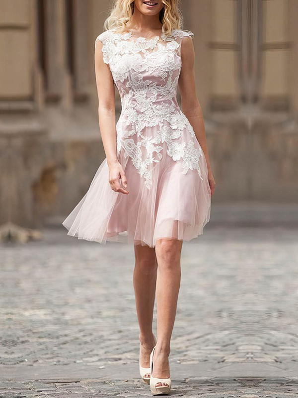 Tulle A-line Scoop Neck Short/Mini with Appliques Lace Wedding Dresses #DOB00023025