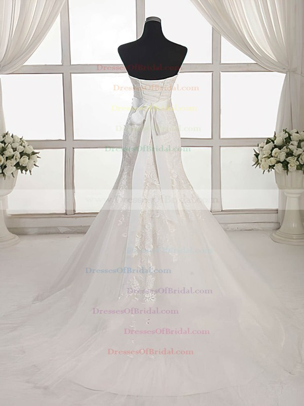 Tulle Trumpet/Mermaid Sweetheart Sweep Train with Appliques Lace Wedding Dresses #DOB00023027