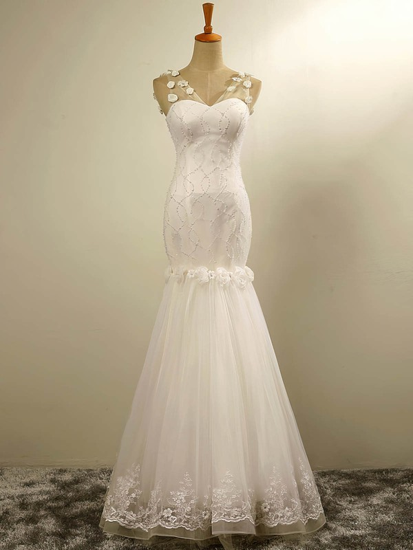Tulle Trumpet/Mermaid V-neck Floor-length with Flower(s) Wedding Dresses #DOB00023029