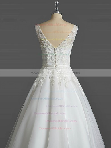 Tulle Ball Gown V-neck Tea-length with Sashes / Ribbons Wedding Dresses #DOB00023031