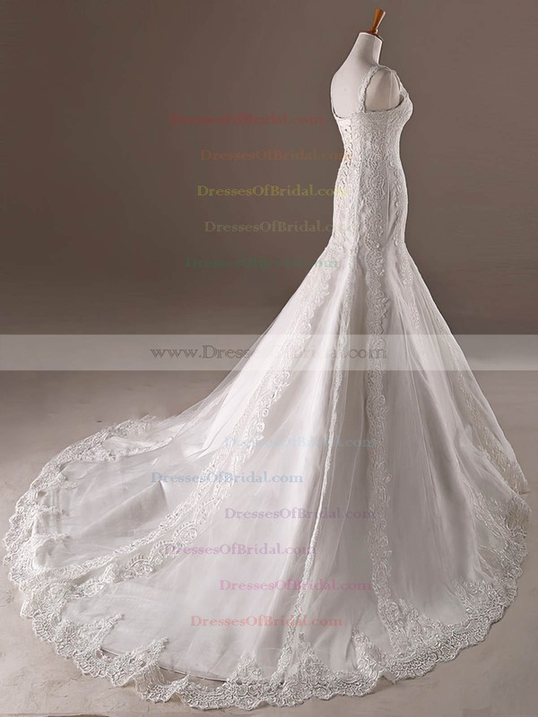 Tulle Trumpet/Mermaid V-neck Sweep Train with Appliques Lace Wedding Dresses #DOB00023032
