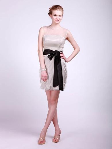 High Neck Sheath/Column Short/Mini Tulle Sashes/Ribbons Bridesmaid Dresses #DOB02013682