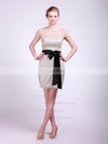 High Neck Sheath/Column Short/Mini Tulle Sashes/Ribbons Bridesmaid Dresses #DOB02013682