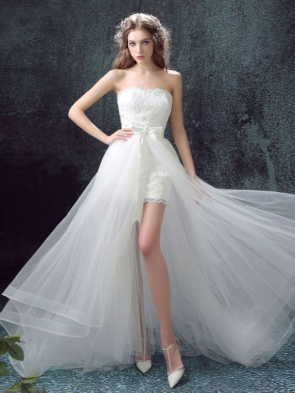 Tulle Lace A-line Strapless Sweep Train with Sashes / Ribbons Wedding Dresses #DOB00023033