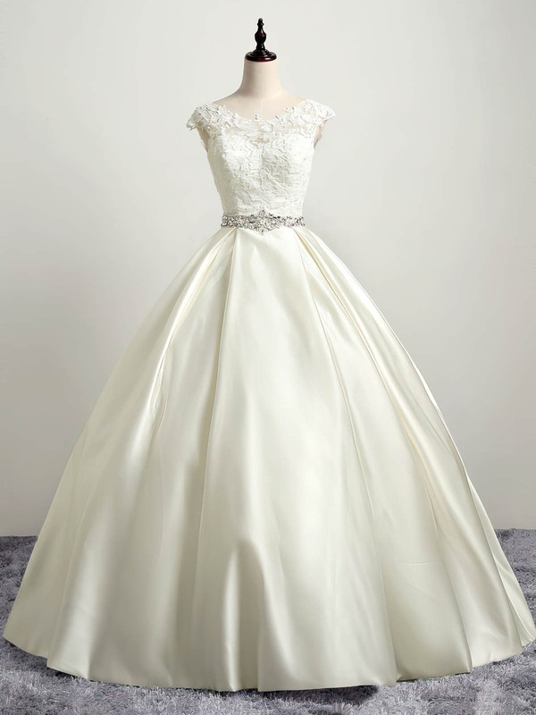 Satin Tulle Ball Gown Scoop Neck Floor-length with Appliques Lace Wedding Dresses #DOB00023035