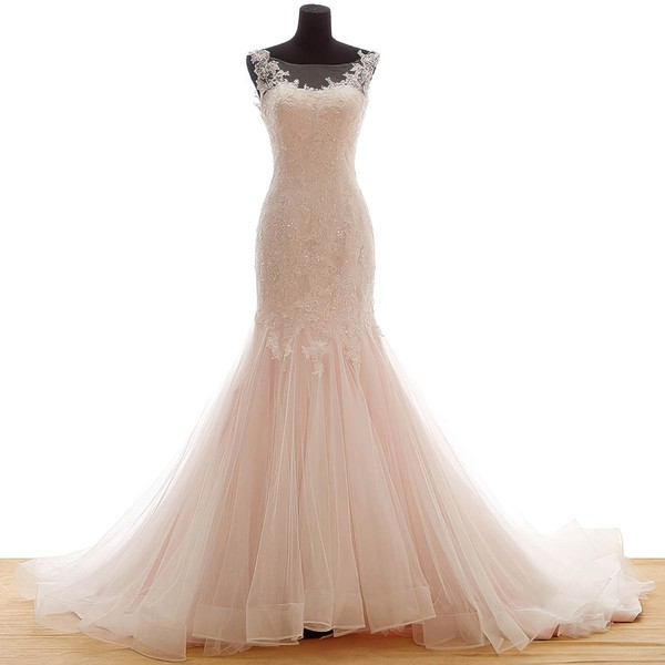 Tulle Trumpet/Mermaid Scoop Neck Sweep Train with Appliques Lace Wedding Dresses #DOB00023036