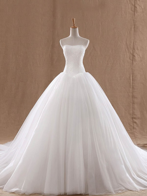 Lace Tulle Ball Gown Strapless Court Train with Ruffles Wedding Dresses #DOB00023037