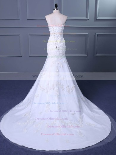 Tulle Trumpet/Mermaid Sweetheart Sweep Train with Flower(s) Wedding Dresses #DOB00023038
