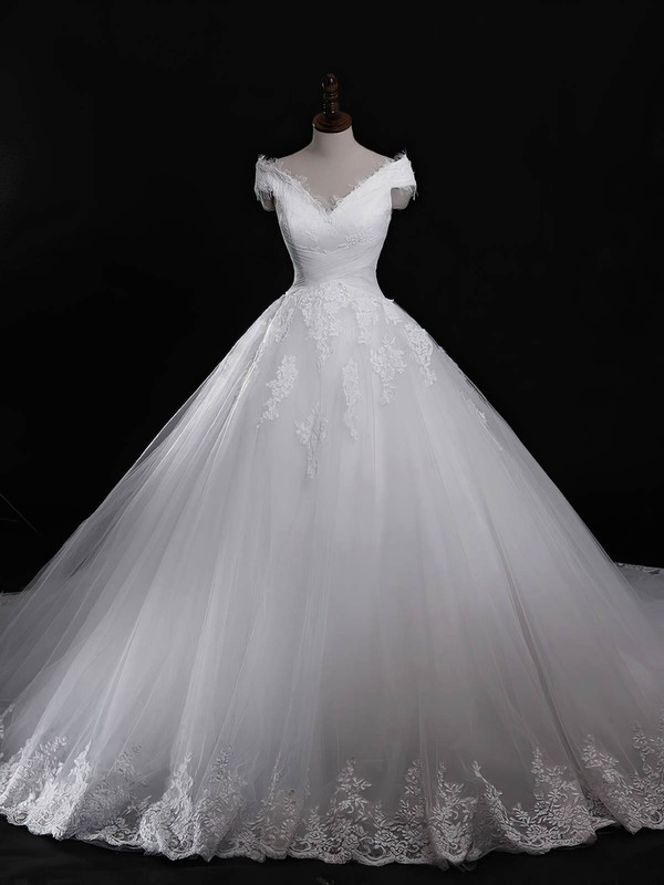 Tulle Ball Gown V-neck Cathedral Train with Appliques Lace Wedding Dresses #DOB00023040