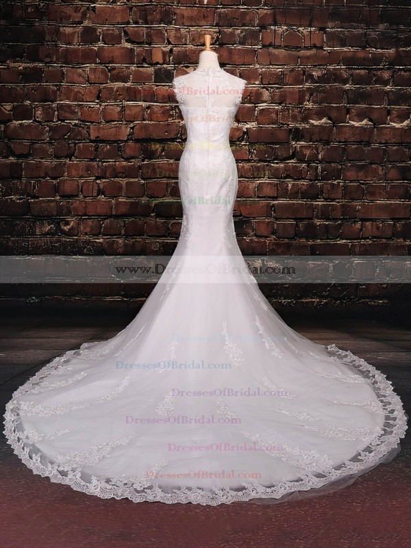 Tulle Trumpet/Mermaid Scoop Neck Court Train with Sequins Wedding Dresses #DOB00023042