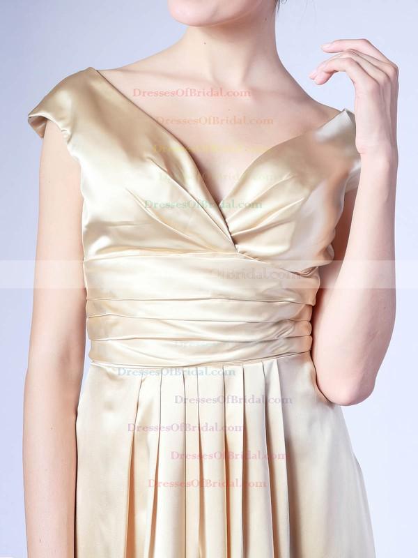 V-neck A-line Knee-length Satin Pleats Bridesmaid Dresses #DOB02013684