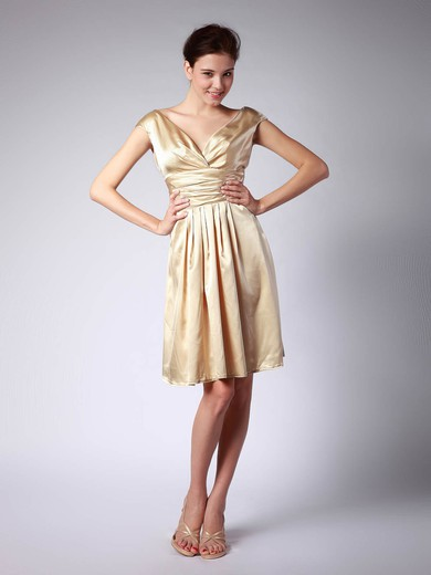 V-neck A-line Knee-length Satin Pleats Bridesmaid Dresses #DOB02013684