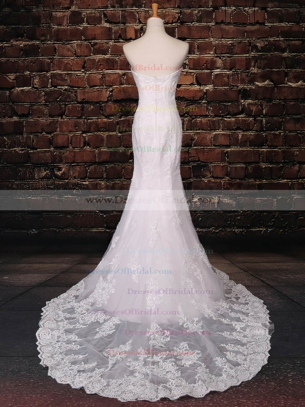 Tulle Trumpet/Mermaid Sweetheart Sweep Train with Appliques Lace Wedding Dresses #DOB00023043