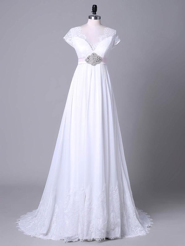 Tulle Chiffon Empire V-neck Sweep Train with Sashes / Ribbons Wedding Dresses #DOB00023045