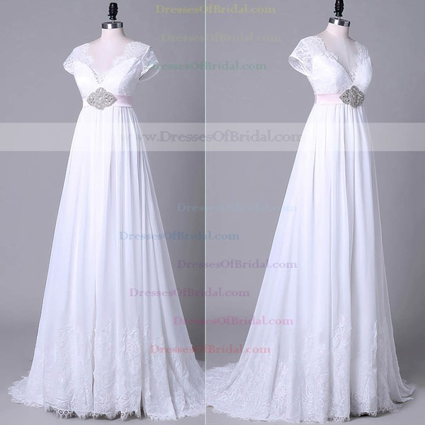 Tulle Chiffon Empire V-neck Sweep Train with Sashes / Ribbons Wedding Dresses #DOB00023045