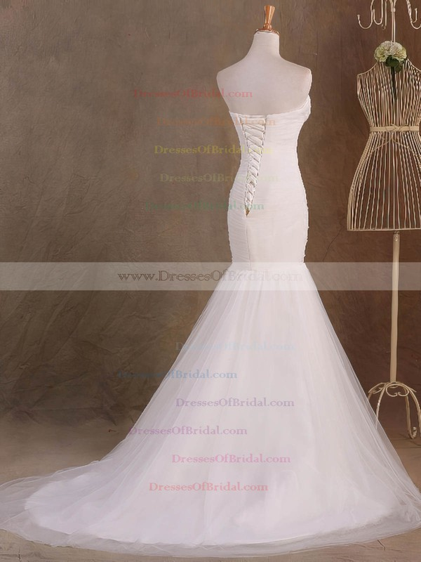 Tulle Trumpet/Mermaid Sweetheart Sweep Train with Ruffles Wedding Dresses #DOB00023046