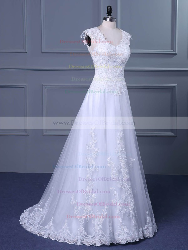 Tulle Princess V-neck Sweep Train with Appliques Lace Wedding Dresses #DOB00023047