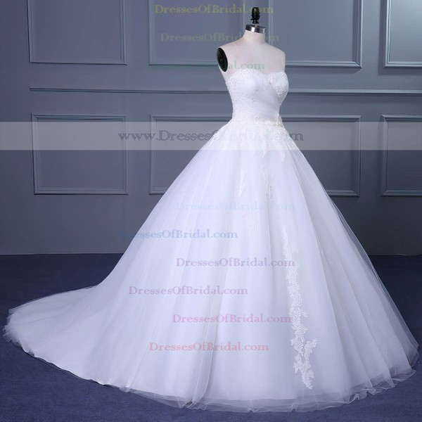 Tulle Ball Gown Sweetheart Court Train with Appliques Lace Wedding Dresses #DOB00023048