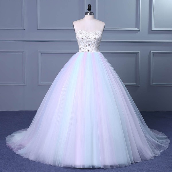Tulle Ball Gown Sweetheart Court Train with Beading Wedding Dresses #DOB00023049