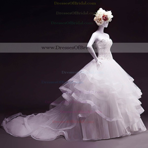 Tulle Ball Gown Sweetheart Court Train with Beading Wedding Dresses #DOB00023050