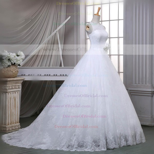 Lace Ball Gown Scoop Neck Sweep Train with Sashes / Ribbons Wedding Dresses #DOB00023051