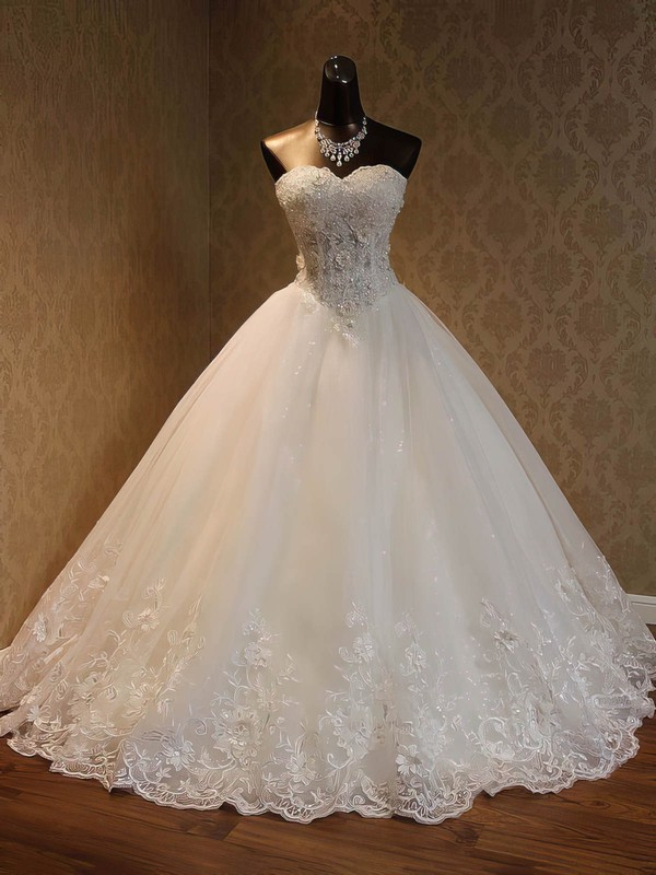 Organza Ball Gown Sweetheart Floor-length with Beading Wedding Dresses #DOB00023052