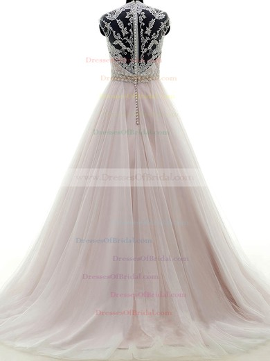 Tulle Ball Gown V-neck Sweep Train with Appliques Lace Wedding Dresses #DOB00023053