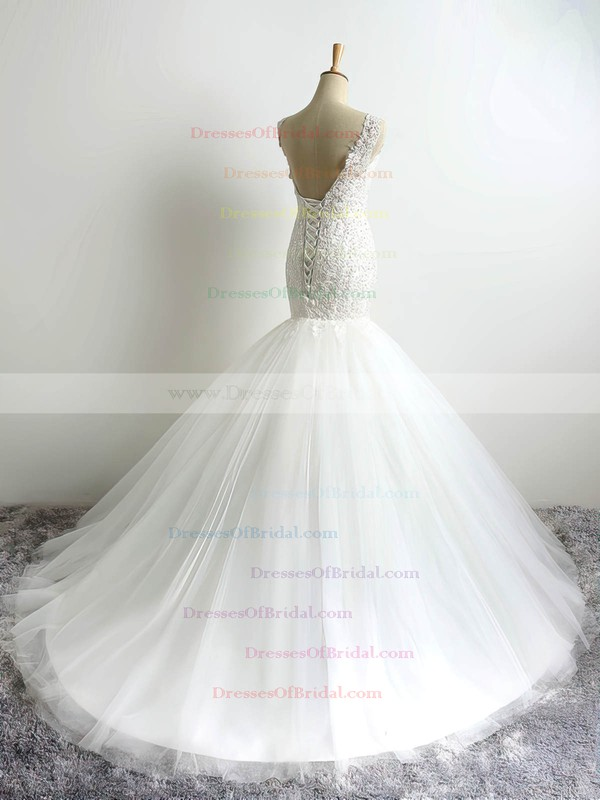Tulle Trumpet/Mermaid V-neck Court Train with Appliques Lace Wedding Dresses #DOB00023054
