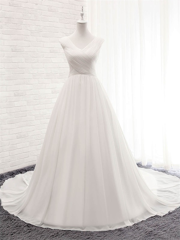 Chiffon Ball Gown V-neck Court Train with Ruffles Wedding Dresses #DOB00023056