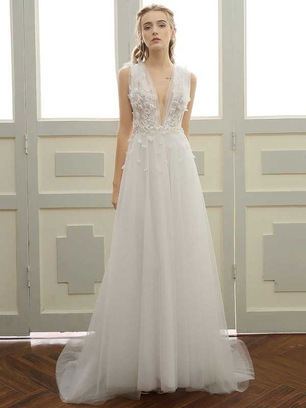 Tulle A-line V-neck Sweep Train with Lace Wedding Dresses #DOB00023057