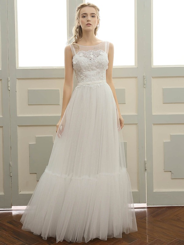 Tulle A-line Scoop Neck Floor-length with Sashes / Ribbons Wedding Dresses #DOB00023058