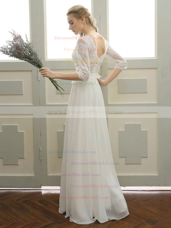 Tulle Chiffon A-line Scoop Neck Floor-length with Appliques Lace Wedding Dresses #DOB00023059